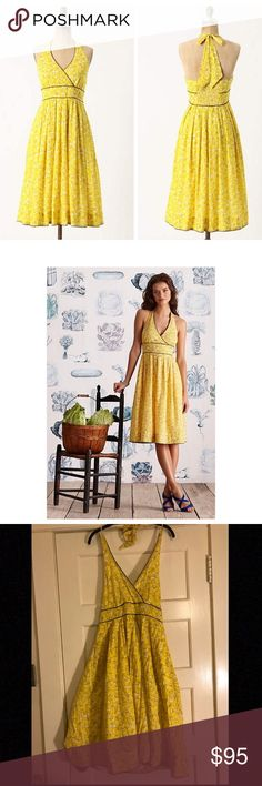 Anthropologie Meyer Merengue Dress Anthropologie by moulinette souers dress - all over lemon print with brown trim - ties behind neck - perfect for summer - worn once - smoke free home Anthropologie Dresses Midi