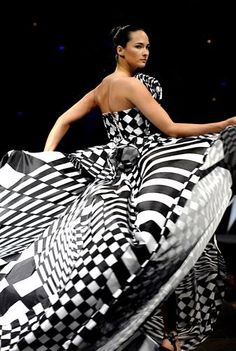 Luly Yang - black and white gown - checks and stripes.  If Nascar had a gown...I do love this!