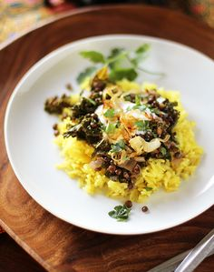 spiced lentils and kale