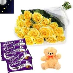 10 Yellow Roses hand bunch with 5 dairy milk cadbury 18gm each with 6 inch cute teddy bear.