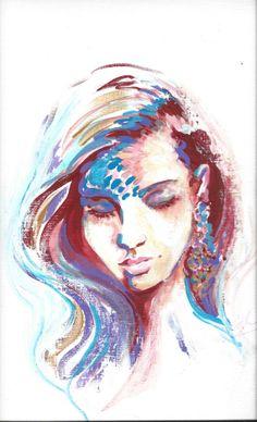 Bohemian Fashion  Acrylic Portrait Painting on Canvas Paper