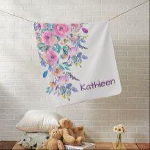 Soft Pastel Watercolor Floral Design Swaddle Blanket