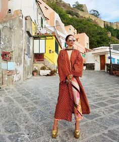 Aureta in Isola di Procida wearing Acne, Celine, Halston, Linda Farrow and Pucci