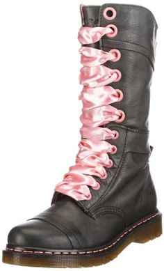 Just ordered these so check wedding shoes off my list! Martens Women's Triumph They fold down and have a pink plaid inside. Dr. Martens, Doc Martens Boots, Wedding Boots, Martin Boots, Cool Boots, Fashion Bags, Black Boots, Leather Handbags, Combat Boots