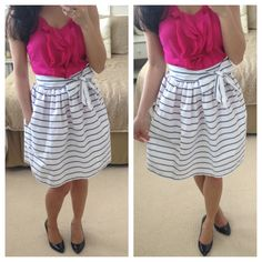 Striped full skirt with bow sash
