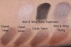 Wet n Wild Silent Treatment  Silent Treatment's taupe looked much cooler, and more rose-plum, than any of the other taupes.  When applied on the lid, the Silent Treatment taupe looked more gray but retained its plummy tone.  It was really gorgeous, lighter in tone than MAC's Moth Brown or MAC's Unflappable.