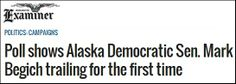 Politico is reporting today that Democrat Senator Mark Begich of Alaska is launching a new TV ad campaign to help prop up his re-election effort.  It's no wonder that Democrat Mark Begich is running scared and taking to the TV airwaves to save his Senate seat.  The Washington Examiner reports that for the very first time Begich is trailing his Republican opposition: