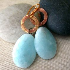 Blue Quartz and Hammered Copper Boho Dangle by RazielaDesigns, $22.00