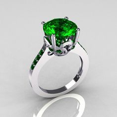 Reserved for Athena - Classic 14K White Gold 3.5 Carat Emerald Solitaire Wedding Ring R301-14KWGEM. $829.00, via Etsy.