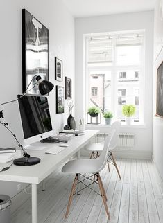 Home office design idea, scandinavian decorated home office, small office