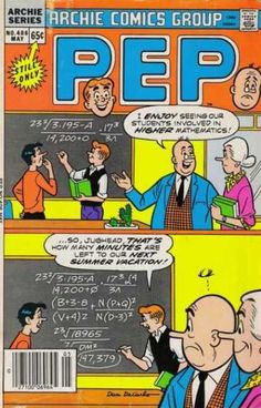 Pep Comics 406 - Archie Math - Vacation Priorities - Math Priorities - Summer Vacation Math Problems - Making Math Interesting To Jughead