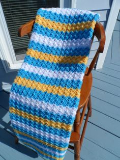 Crochet BABY BLANKET- Blue, Yellow, White Stripes - 33 x 42 inch - Child Afghan - Ripple Pattern on Etsy, $66.33 AUD