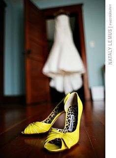 Yellow Manolo Blahnik Wedding Shoes - Photographed by Nataly Lemus Photography