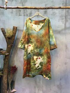 V-Neck Abstract Print Vintage Dress Loose Linen Senior Woman Dress    #loose #flower #print #vintage #dress #linen #elderly #over50 #senior #wholesale #retail