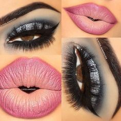 bold eyes and pink lips
