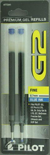Pilot G2 Gel Rollerball Refill - 0.7mm Fine, Blue (2-Pack)