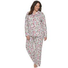 Women's Plus Size Croft & Barrow Long Sleeve Printed Pajama Set, Size: 3XL, Med Pink