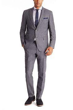 'T-Holden/Glenn'   Slim Fit, Italian Virgin Wool Suit with Silk Trim , Open Blue
