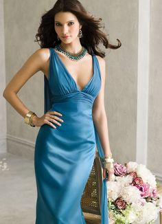 Stunning Sheath V-neck Floor-length Chiffon Evening Dress