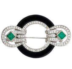 Art Deco Diamond, Emerald, Onyx & Gold Brooch