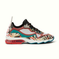 Fendi running sneakers with multicolored paradise flower print.