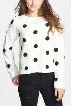 Polka dot sweater. Cute!