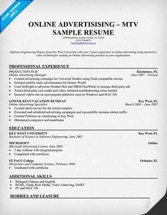 Online Advertising Com Resume Template ResumecompanionCom