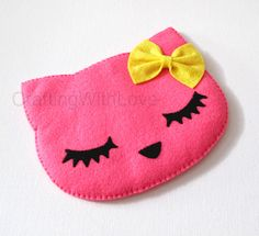 Pink Summer Neko Cat with Ribbon Bow iPhone case. by craftingwithlove