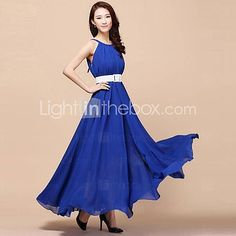Women's+Strap+Dress+,+Chiffon+Maxi+Sleeveless+-+AUD+$24.30