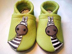 Babyschuhe mit Zebra / baby shoes, cute animal, kids wear made by Puschen zum Huschen via DaWanda.com