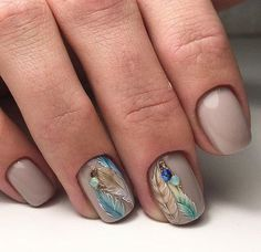 Beautiful nails animal nail art в 2019 г. uñas cortas, uñas artísticas и uñ Feather Nail Designs, Nail Art Designs, Feather Design, Peacock Nail Art, Feather Nail Art, Fall Nail Art, Cute Nail Art, Animal Nail Art, Nail Jewels
