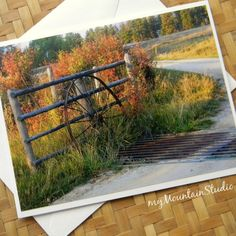 Country Autumn Photo Note Card - Rural Nature Photography Montana - myMountainStudio