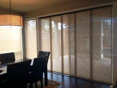 Woven textured solar sliding panels for sliding door
