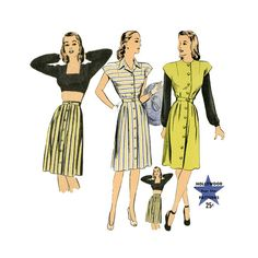 1940s Bare Midriff Playsuit Vintage Sewing Pattern Hollywood 1524 32 UNCUT Bust Womens Button Front Day Dress Jumper Blouse and Skirt