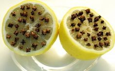 Lemons and cloves to keep away wasps and flies for an outdoor party