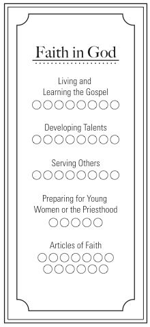 Faith in God poster. as soon as all of them have completed one activity, mark it off on the poster.  will help them motivate each other.