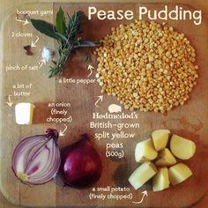 English Pease Pudding - made with Split Yellow Peas - Hodmedod's British Pulses & Grains Egg Free Recipes, Pea Recipes, Veggie Recipes, Cooking Recipes, Healthy Recipes, Veggie Meals, English Food, English Peas, English Recipes