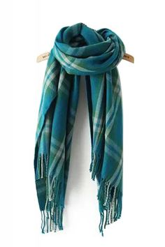 Teal Blue Plaid Pattern Tassel Long Cashmere Scarf