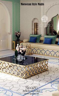Arabic majlis interiors in white and gold. Get more interior design ideas for majlis designs. Interior Design Dubai, Luxury Homes Interior, Interior Design Companies, Modern Interior Design, Interior Design Living Room, Interior Architecture, Moroccan Interiors, Modern Bedroom Design, Furniture Design
