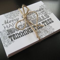 FREE SHIPPING Modern Christmas Hand Stamped Cards - Set of 6 - by BRANDYSINKDESIGNS, $12.00