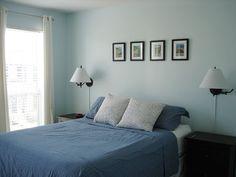 Townhouse master bedroom with behr Aqua breeze walls