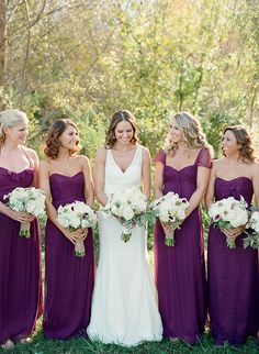 Not sure if you have officially nixed purple, but I am pinning mad purple stuff on Victoria's board so... Long eggplant / aubergine bridesmaids dresses