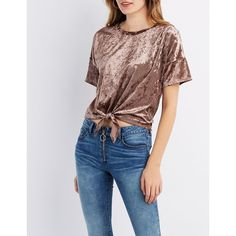 Charlotte Russe Crushed Velvet Tie-Front Tee ($18) ❤ liked on Polyvore featuring tops, t-shirts, camel, tie front t shirt, tie front top, scoop-neck tees, short sleeve tee and scoop neck t shirt