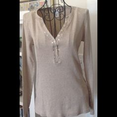 LOFT Ann Taylor Henley Small ribbed Henley with sequin v-neck details is perfect for layering with a flannel shirt. LOFT Tops Tees - Long Sleeve