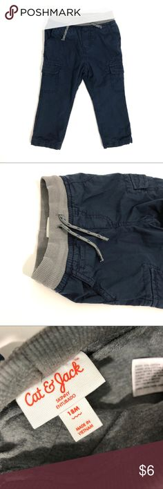 Cat & Jack Blue Lined Cargo Pants Baby Boy 18m