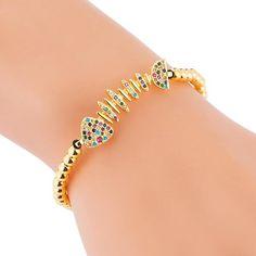 Bronze inlaid colorful zircon personalized product fish bone braided drawstring adjustable bracelet NHLN188810