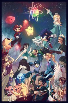 Super Smash Bros Wii U artwork by Uniesque. Super Smash Bros Brawl, Super Mario Bros, Nintendo Characters, Video Game Characters, Metroid, Wii U, Geeks, Nemo, Kid Icarus