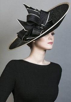9c4b7d68604 R1680 - Black fine straw sidesweep hat with black and natural piped bows  Millinery Hats
