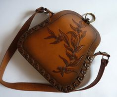 Tooled leather bag - interesting idea for sides.