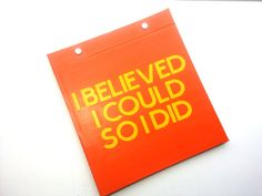 Race Bib Holder - I believed I could so I did! - customized color - Runner inspiration - Hand-bound Book for Running bibs Orange and Yellow